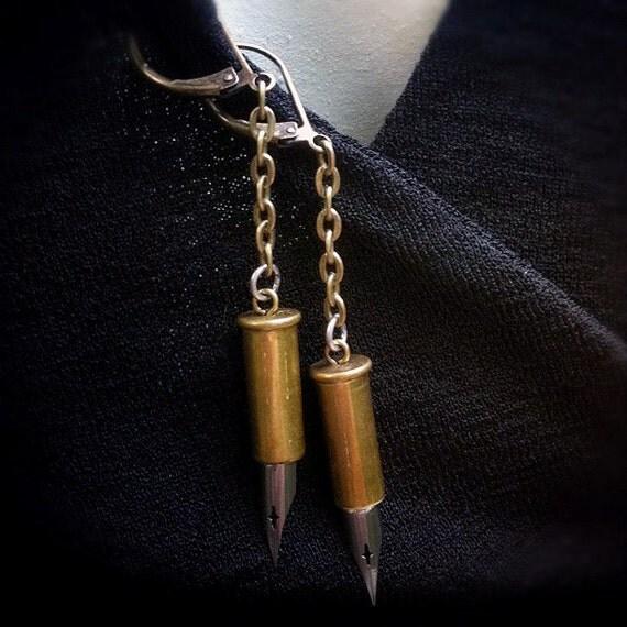 Brass Bullet Shell and Vintage Pen Nib Leverback Earrings
