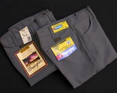 SALE: Grey - NOS Wrangler Wrancher Regular Fit Boot Cut Stretch Dress Jeans 30x36 31x36