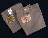 SALE: Tan - NOS Wrangler Wrancher Regular Fit Boot Cut Stretch Dress Jeans 30x36 31x36