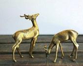 1960's. brass. deer. figurines. vintage.
