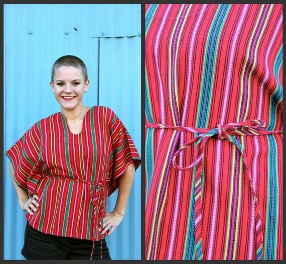 1970's. red. mexican. boho. circle shirt. waist tie. vintage top. Sz s-l.