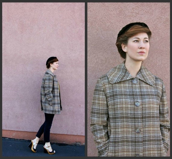 1950's. plaid. button up. shawl collar. blue. grey. mad men. vintage coat. Sz l/xl.