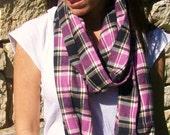 Plaid Flannel Infinity Scarf (loop scarf) in pink and black- Snood