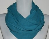 Infinity Scarf in Turquoise Cotton Gauze