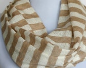 Infinity Scarf in Beige and Cream Lace Stripes Jersey, Loop Scarf, Eternity Scarf, Circle Scarf