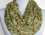 Infinity Scarf in Bright Green Mini Floral Print, Lightweight, Summer Scarf, Loop Scarf, Eternity Scarf, Circle Scarf