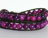 Berry Purple Beads Leather Wrap Bracelet, Double Wrap Bracelet