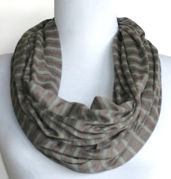 Infinity Scarf in Heather Gray, Light Gray  and Taupe Striped Jersey