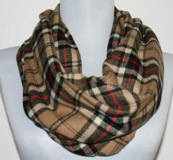 Infinity Scarf in Beige, Black and Red Plaid Flannel