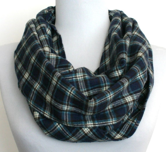 Infinity Scarf in Dark Blue, Light Blue, White and Black Plaid Lightweight Flannel, Loop Scarf, Eternity Scarf, Circle Scarf