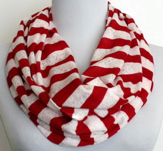 Infinity Scarf in Red Jersey and White Lace Stripes, Circle Scarf, Eternity Scarf, Loop Scarf