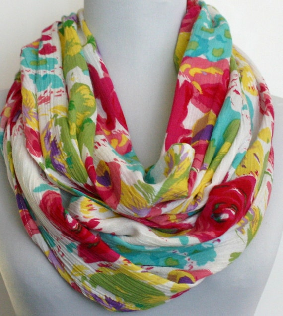 Infinity Scarf in Bright Floral Crinkled Cotton Gauze, Summer Scarf, Eternity Scarf, Loop Scarf, Circle Scarf