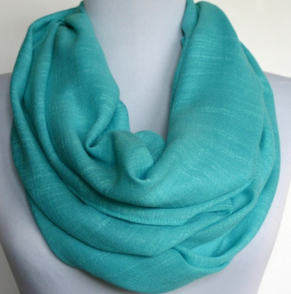 Infinity Scarf in Turquoise, Loop Scarf, Eternity Scarf, Circle Scarf