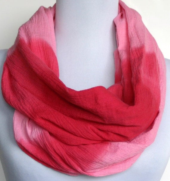 Infinity Scarf in Shades of Bright Pink Crinkled Cotton Gauze, Loop Scarf, Eternity Scarf, Circle Scarf