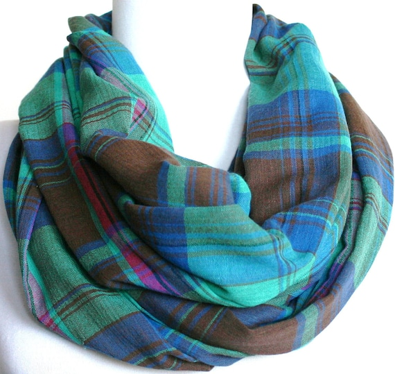Plaid Infinity Scarf, Cotton Gauze, Peacock Colors, Loop Scarf, Eternity Scarf, Circle Scarf
