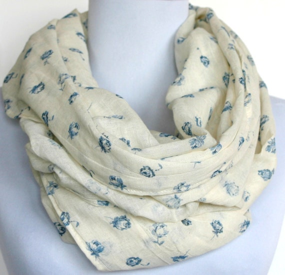 Infinity Scarf in Antique White with Blue Mini Floral Print, Cotton Gauze, Loop Scarf, Eternity Scarf, Circle Scarf
