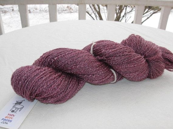 Discounted Handspun Merino and Tencel Yarn Hand Dyed Rose Purple 308 Yards Y163