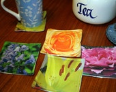 Blooming Galore - set of 4 Fabric Photo Coasters