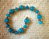 TURQUOISE CRACKLE Glass Beads with End Cap Spacer Beads Fused Glass by Ginger