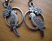 ANTIQUED SILVER Parrot Dangle Earrings from Fused Glass by Ginger at etsy.com