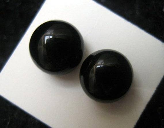 Tiny Black Fused Glass POST Earrings - Black Stud Earrings