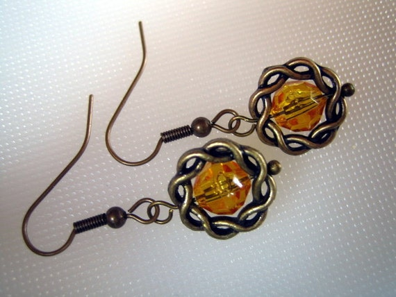 ANTIQUED BRASS and Gold Bead Earrings from Fused Glass by Ginger at etsy.com