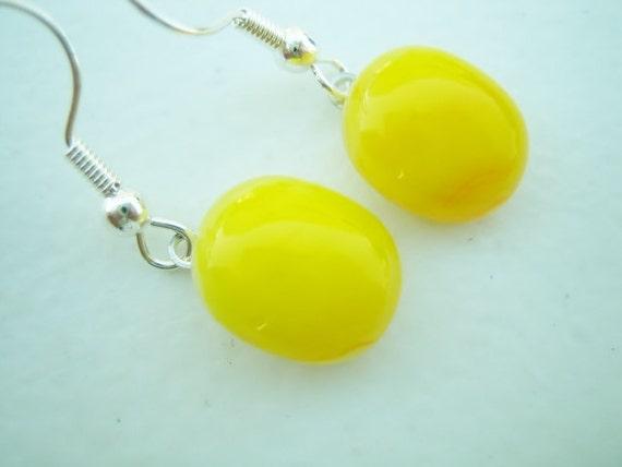 FUSED GLASS Small Yellow Dangle Earrings - FusedGlassbyGinger on Etsy