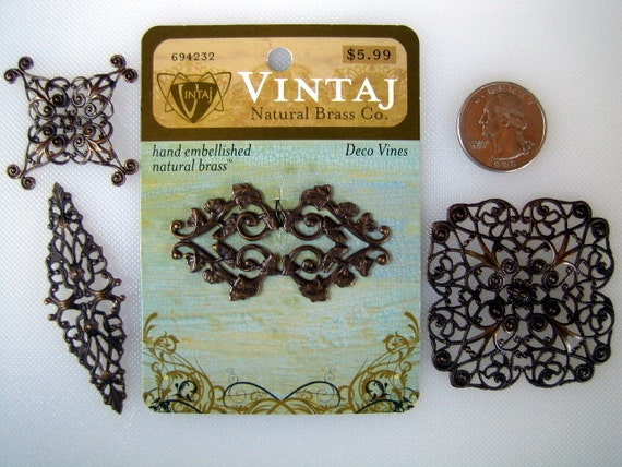 SALE 50% off - 4 pieces VINTAJ NATURAL Brass Filigree