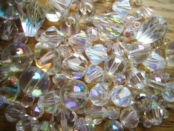AB Crystal Clear Beads - Assorted Sizes & Shapes - Destash Supplies