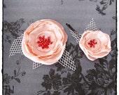 Peachy Keen Roses Hair Flower Clips