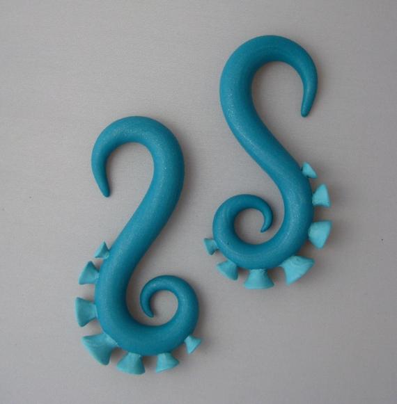 Gauged Tentacle Earrings