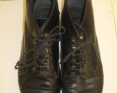 SALE Vintage Glacee Black Leather Boots, 7.5 B