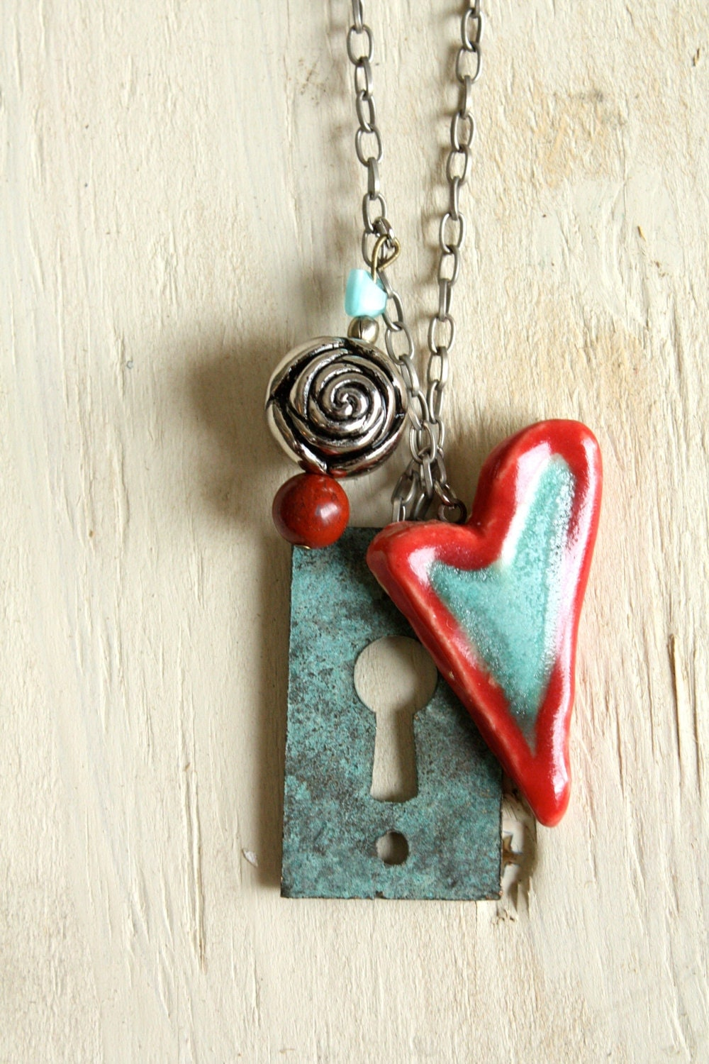 Ceramic Jewelry Turquoise And Red Heart Necklace