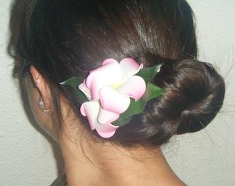 Double pink plumeria hair clip
