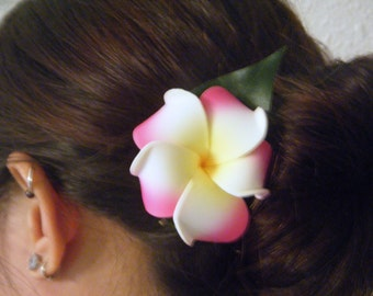 Single plumeria hair clip, assorted colors