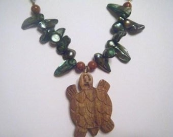 Wood Honu Necklace