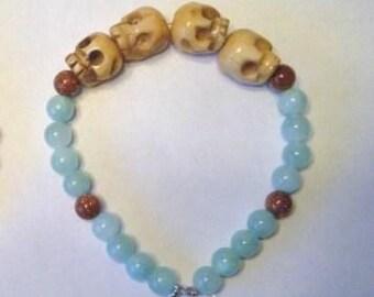 Women's beaded skull bracelet