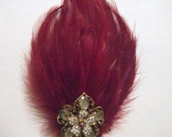 Deep red feather hair clip