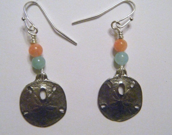 Pewter sand dollar earrings