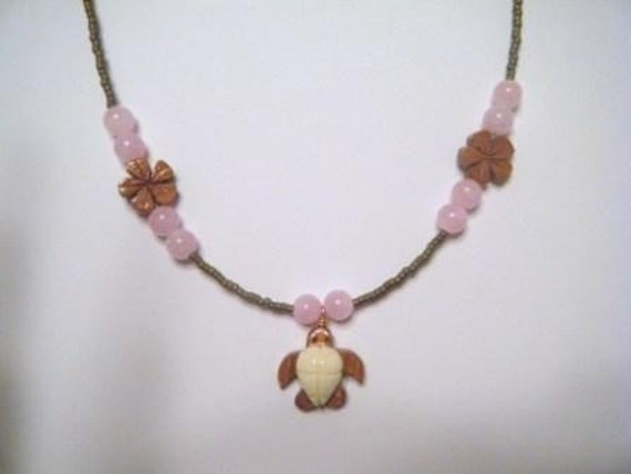 Wood and bone honu necklace (pink or purple)