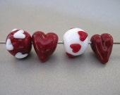 Handmade Valentine Bead Set Lampwork SRA Hearts Red and White
