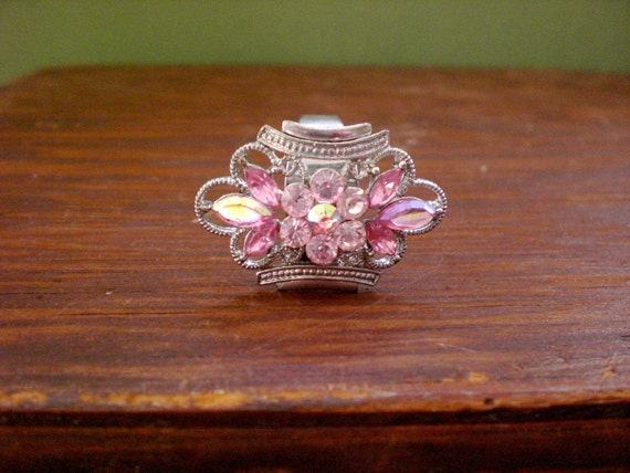 RESERVED FOR KLAVIERFISH Frosty Pink Rhinestone Ring