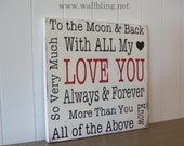 LOVE YOU Typography Word Art Sign  - Antique White