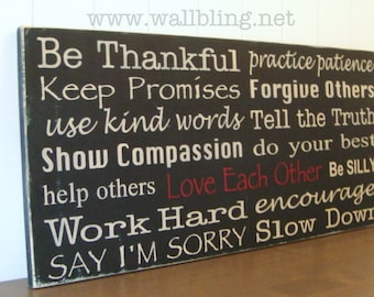 Horizontal Family Rules Sign - Be Thankful, Love Each Other... 12x24