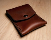Horween Chromexcel Coach Tan Leather Vertical Snap Men Cash Card Wallet