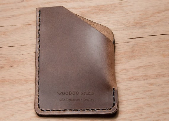 Horween Chromexcel Latte Brown Leather Angle Entry Cash Card Wallet