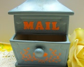1970s Shabby Chic Ceramic Pottery Mail Box, Post Office Planter - SALE