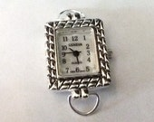Rectangular Silvertone Geneva Watch Face for Beading or Interchangeable Watch Bands