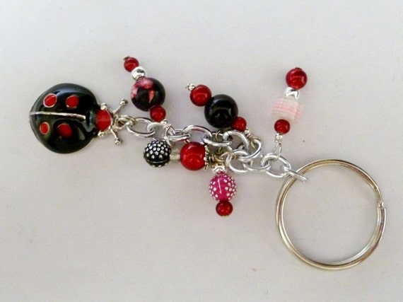 Lady Bug Chain with Red and Black Enameled Charm and Acrylic Beads