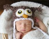 Crochet Fuzzy Brown Owl Hat (Newborn)